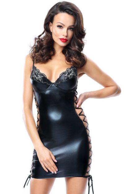 Кожаное платье с завязками по бокам Aline (Magnetic collection)