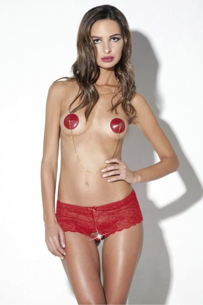 Фантастические высокие шортики с доступом и аккуратными бантиками красные (Easy to love)