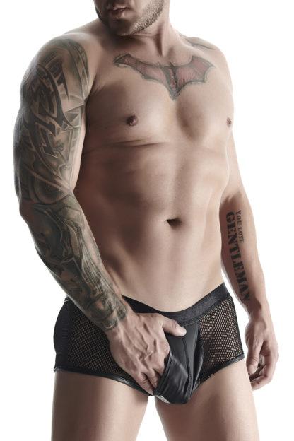Трусы мужские черные со вставками из сетки и карманом (RFP collection)