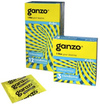 Презервативы GANZO RIBS (Ребристые, 3 шт. в упаковке)