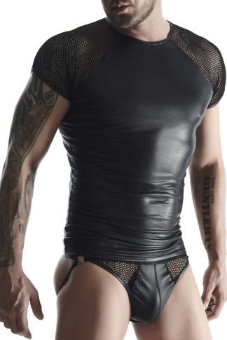 Футболка мужская wetlook черная со вставками сетки на плечах (RFP collection)