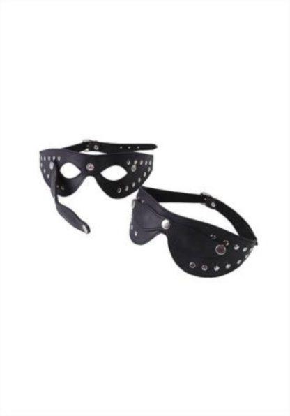 Черная маска с отстегивающимися шорами, из натуральной кожи, с велюровой отделкой Le Frivole