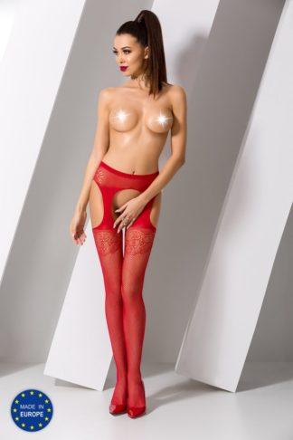 Чулки красные с имитацией пояса и подвязок (Passion)