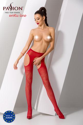 Колготки красные с доступом и ажурным рисунком (Passion)