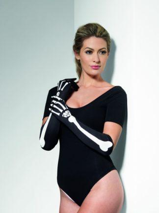 Черные длинные перчатки с изображением костей (Fever)