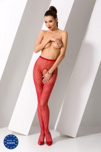Колготки красные с геометрическим узором и доступом (Passion)